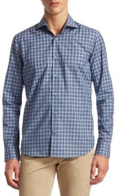 Saks Fifth Avenue COLLECTION Tonal Plaid Button-Down Shirt