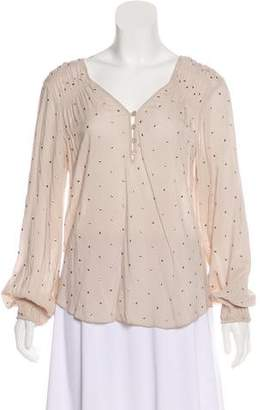 Rebecca Taylor Embellished Long Sleeve Blouse