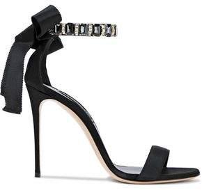 Casadei Crystal-Embellished Grosgrain And Satin Sandals