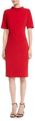 Badgley Mischka Turn-Lock Faille Short-Sleeve Sheath Dress