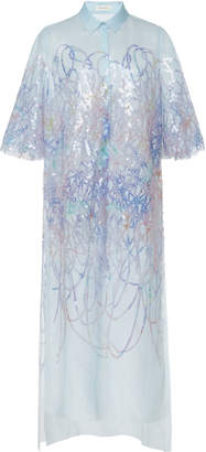 DELPOZO Sequin-Embroidered Tulle Tunic