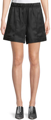 Helmut Lang Silky Wide-Leg Pleated Pull-On Shorts