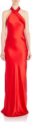 Galvan Asymmetric Bias Cut Gown in Red Silk