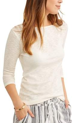 Time and Tru Women's Lightweight Boatneck 3/4 Sleeve T-Shirt