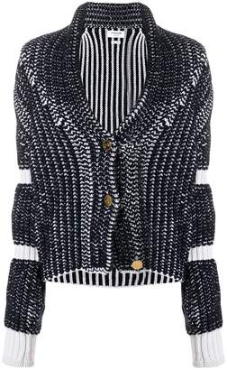 Thom Browne Bi-Colored Chunky Shawl Collar Cardigan