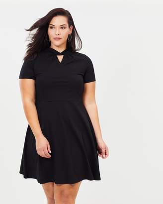 Hannah Twist Detail Fit-and-Flare Dress