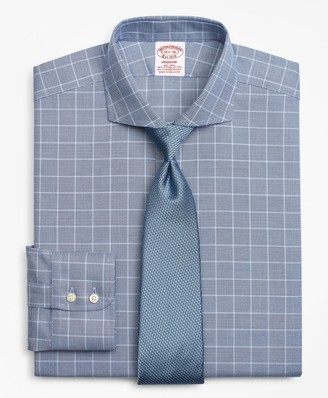 Brooks Brothers Stretch Madison Classic-Fit Dress Shirt, Non-Iron Royal Oxford Glen Plaid