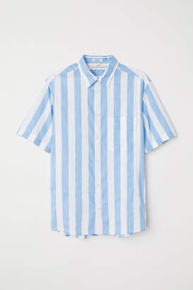 H&M Regular Fit Linen-blend Shirt - Blue