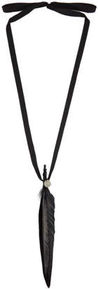 Ann Demeulemeester SSENSE Exclusive Black Ribbon and Feather Necklace