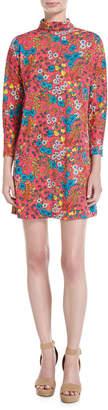 Marc Jacobs Brite Blossom Mock-Neck Shift Dress, Pink