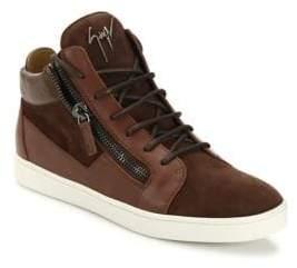 Giuseppe Zanotti Suede& Leather Terra Mid-Top Sneakers