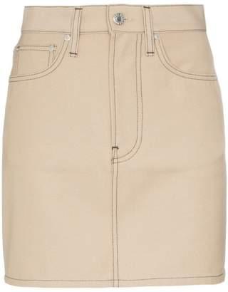 Helmut Lang high-waisted contrast stitch mini skirt