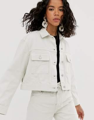 Weekday cropped denim jacket co-ord in tinted ecru