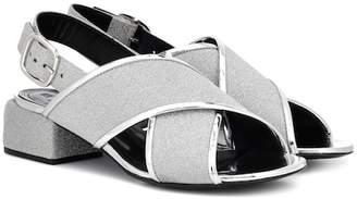 Marni Glitter leather crossover sandals