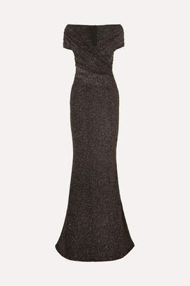 Talbot Runhof Tokara Off-the-shoulder Ruched Stretch-lurex Gown - Black