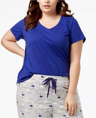 Charter Club Plus Size Cotton Knit Pajama Top, Created for Macy's