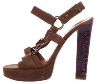 Lanvin Suede Slingback Sandals Brown Suede Slingback Sandals