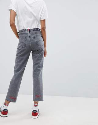 Tommy Jeans High Rise Straight Leg Jeans With Embroidered Logo