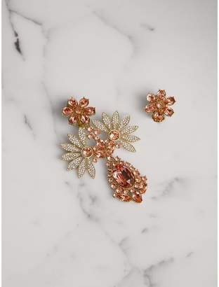 Burberry Crystal Double-daisy Drop Earring and Stud Set