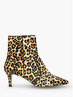 Carvela Sugar Pony Leopard Print Stiletto Pointed Toe Ankle Boots, Brown