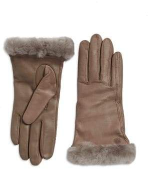 UGG Classic Shearling-Trimmed Leather Smart Gloves