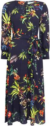Oui Tropical floral tie waist dress