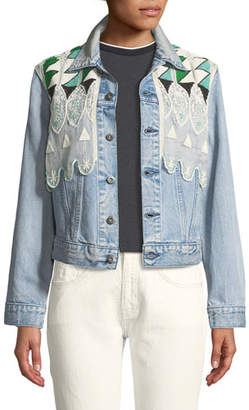 Levi's Boyfriend Denim Trucker Jacket w/ Embroidery