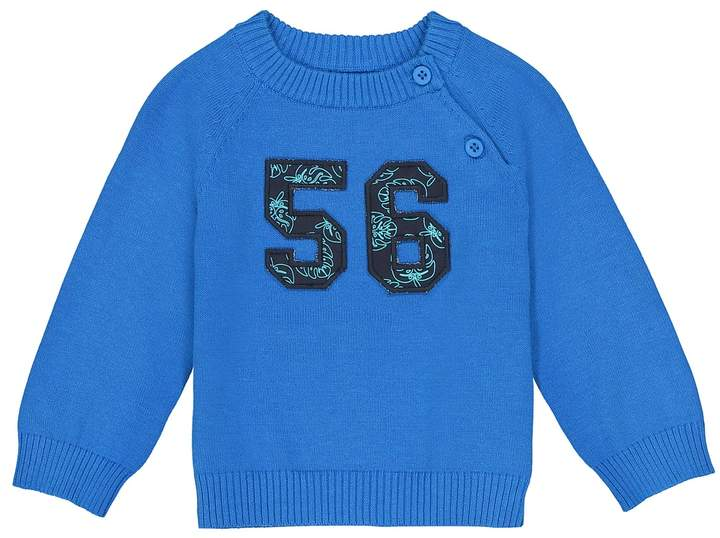 La Redoute Collections Crew Neck Jumper with Motif on Front, 1 Month-3 Years