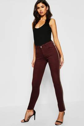 boohoo Mid Rise Sequin Side Stripe Skinny Jeans