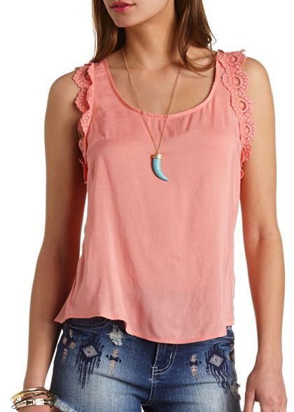 Charlotte Russe Embroidered Lace Trim Tank Top