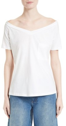Women's Robert Rodriguez Off The Shoulder Pocket Tee $95 thestylecure.com