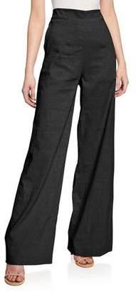 Pinko Luigia High-Waist Linen Wide-Leg Pants
