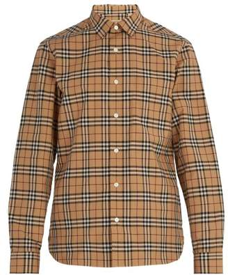 Burberry House Check Cotton Shirt - Mens - Camel
