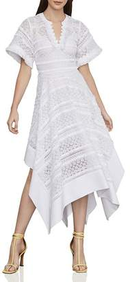 BCBGMAXAZRIA Handkerchief-Hem Lace Dress