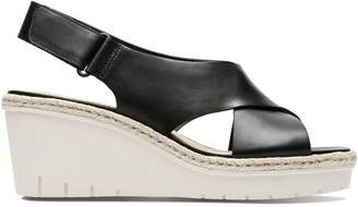 Clarks Palm Glow Leather Wedge Sandals