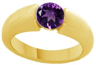 Jewel Zone US Round Cut Simulated Amethyst Solitaire Ring In 14K Gold Over Sterling Silver (1.10 Cttw)