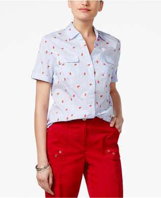 Karen Scott Printed Cotton Shirt, Only at Macy's $39.50 thestylecure.com