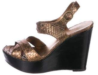 Alexandre Birman Metallic Snakeskin Sandals