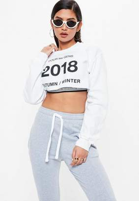 Missguided White Pour Les Gens Super Cropped Sweater