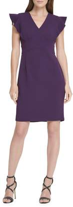 DKNY Flutter Sleeve Sheath Dress
