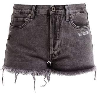 Off-White Off White Frayed Denim Shorts - Womens - Grey