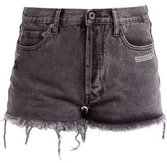 Off-White Off White Frayed Denim Shorts - Womens - Grey