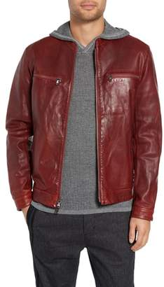 John Varvatos Trapunto Leather Racer Jacket