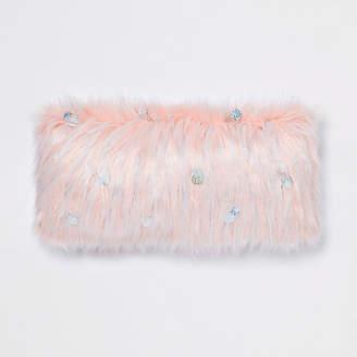 River Island Pink sequin faux fur cushion
