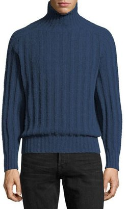 TOM FORD Brushed Cashmere Ribbed Turtleneck Sweater $1,470 thestylecure.com