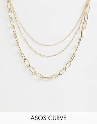Asos DESIGN Curve multirow necklace with open link and dot dash chain in gold