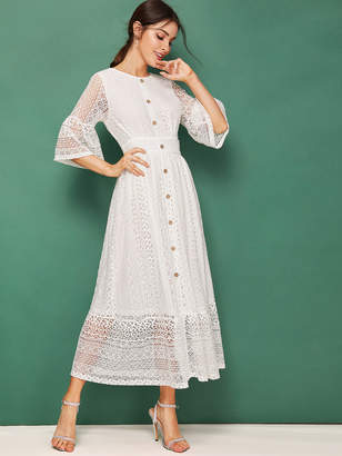 Shein Bell Sleeve Button Detail Lace Dress