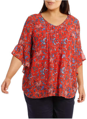 Short Sleeve Pintuck Front Floaty Top