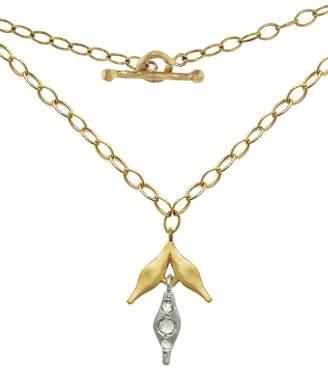Cathy Waterman Black & White Diamond Wheat Charm Necklace