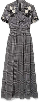 Lela Rose Pussy-bow Embroidered Checked Silk-chiffon Dress - Black